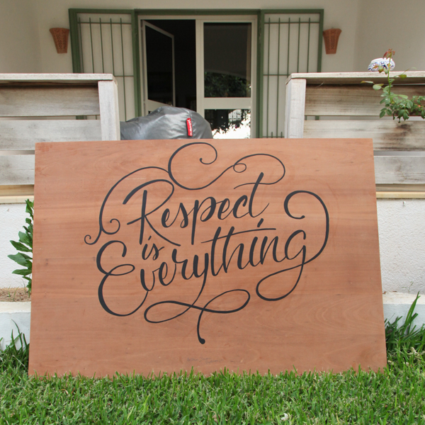 Antonin+Margaux dar Enesma Lettering respect is everything